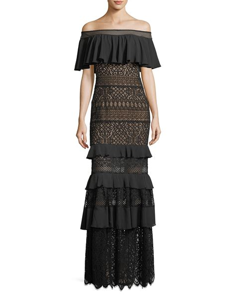 Crochet Evening Gown tadashi shoji the shoulder crochet ruffle evening gown