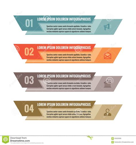 html layout elements horizontally infographic business concept colored horizontal vector