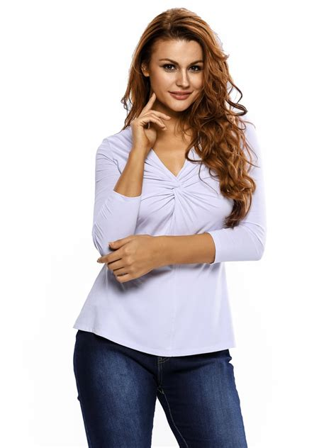 V Neck Sleeved Top white twist front sleeved v neck top e25936 1 cilory