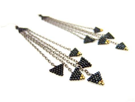 Triangle Statement Earrings black triangle earrings triangle dangle earrings beaded