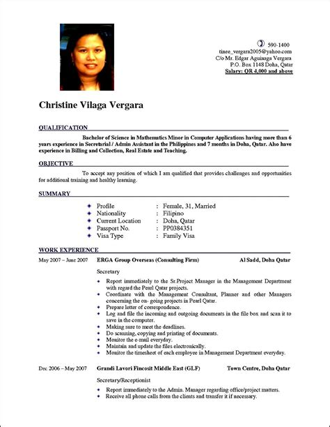 Cv Format For by Curriculum Vitae Cv Expert