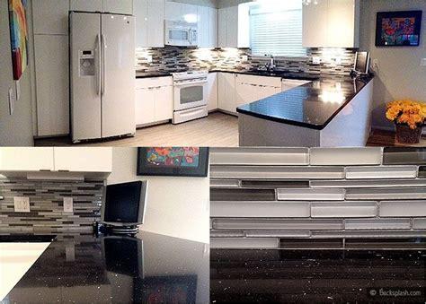 Black Glass Countertops by White Kitchen Cabinets Black Galaxy Countertop Gray Glass