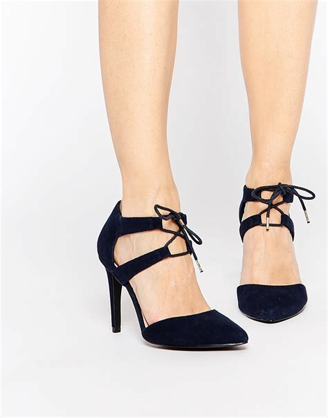 Faiths Heels by Lyst Faith Fisker Navy Suede Tie Front Court Shoes In Blue