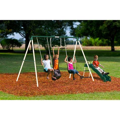 backyard metal swing sets swing slide play set kids outdoor backyard playground