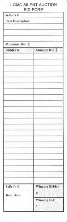 black and white printable silent auction bid sheet free printables
