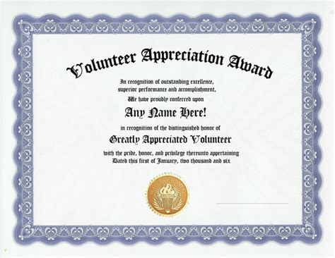 volunteer certificate of appreciation template volunteer appreciation award certificate custom gift ebay