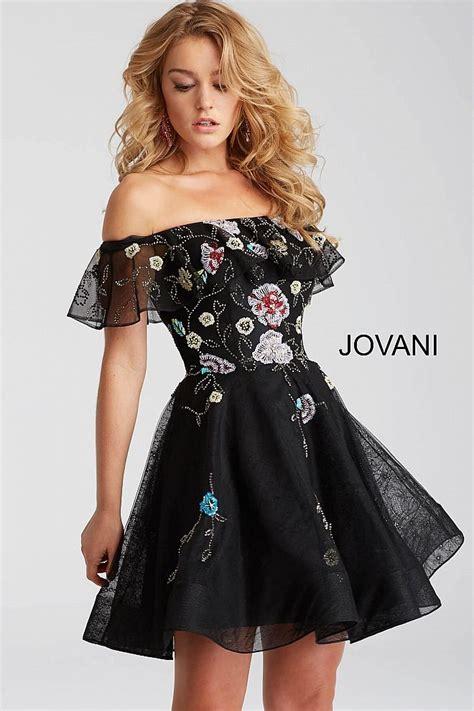 black multi   shoulder fit  flare short dress