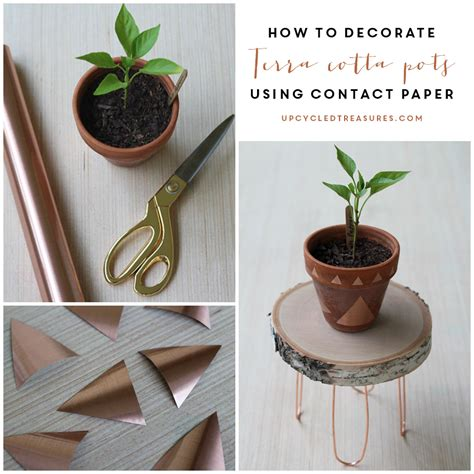 How To Decorate Pot by Decorate Terra Cotta Pots Using Contact Paper
