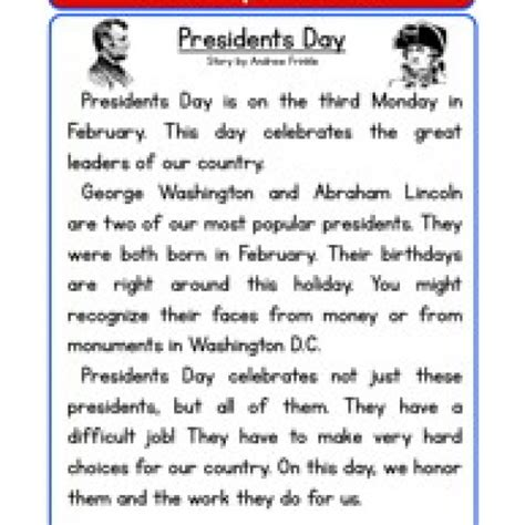 s day song esl presidents day reading comprehension worksheet reading