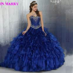 beautiful ball gown crystals beading royal blue
