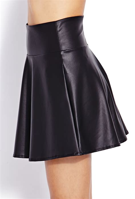 forever 21 cool faux leather skater skirt in black lyst