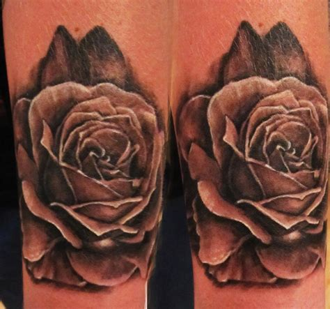 realistic black rose tattoo black and grey realistic my work 2014
