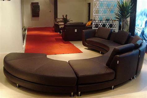 Roller Espresso Leather Sectional Round Sofa Leather