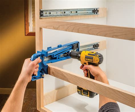 How To Install A Drawer Slide by New Rockler Jig Simplifies Drawer Slide Installations