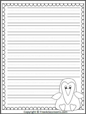 printable january writing paper free penguin writing template with print practice lines