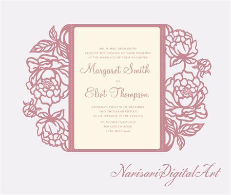 Free Wedding Gate Fold Card Template Silhouette by Peonies Cut Wedding Invitation 5x7 Gate Fold Card
