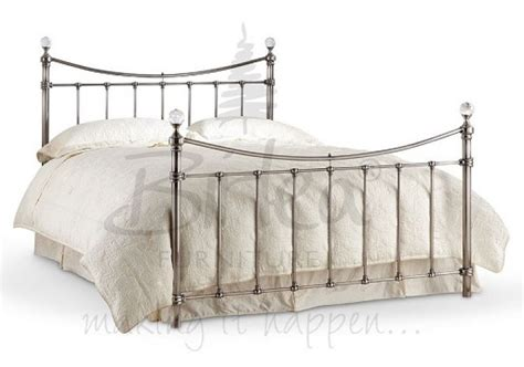Metal Bed Frames Uk Birlea 5ft King Size Brushed Nickel Metal Bed Frame With Crystals By Birlea