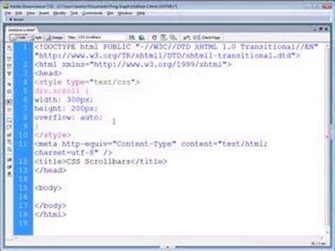 css tutorial scrollbar dreamweaver tutorial css scrollbars youtube
