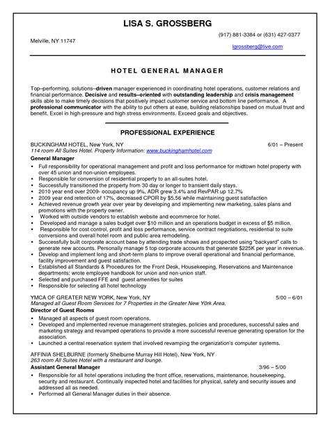Sle Resume For Hotel Management Fresher by Resume Hotel Management Sales Management Lewesmr