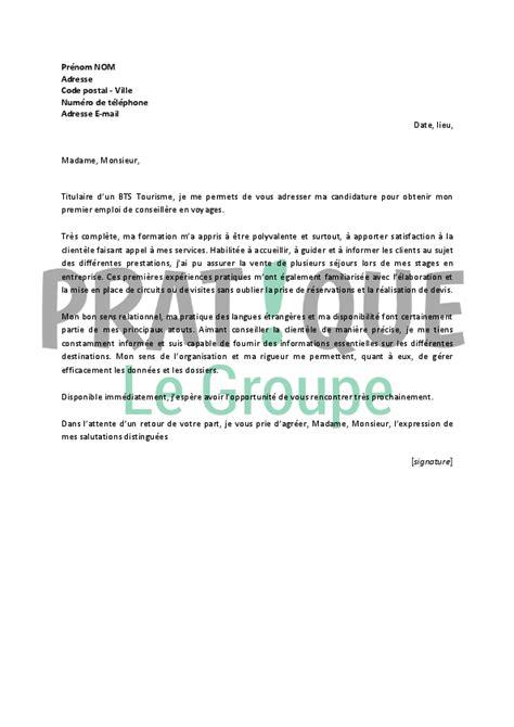 Exemple Lettre De Motivation Pour école De Tourisme lettre de motivation pour un emploi de conseill 232 re en