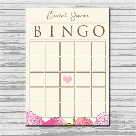 Blank Bingo Card Template For Bridal Shower by Bridal Shower Bingo Card Instant Printable Blank
