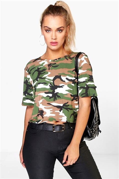 Ms Croptee Plus Libby Camo Print Crop At Boohoo