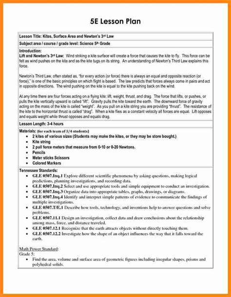 9 5 E Lesson Plan Template Driver Resume 5 E Lesson Plan Template