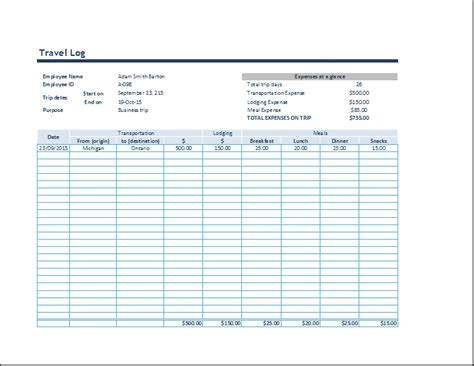 ms excel business travel log template word document