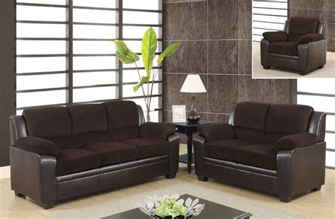 cheap leather living room furniture contemporary two tone sofa set upholstered in chocolate