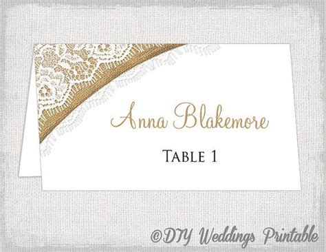 diy name card template rustic place cards template quot burlap lace quot diy printable