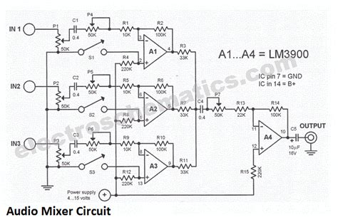 Pcb Mixer Audio 3 channel audio mixer circuit
