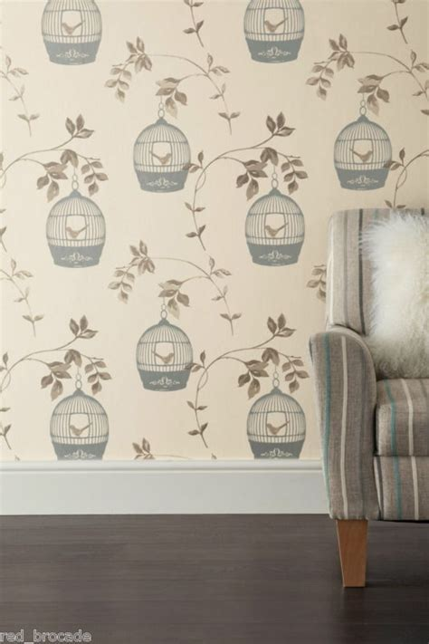 cream and gold wallpaper next details about feature wallpaper birdcage leaf trail birds