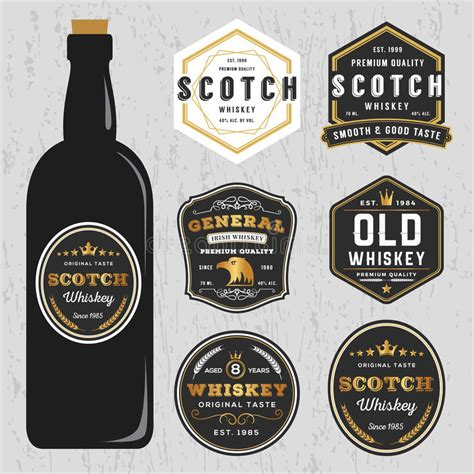 Vintage Premium Whiskey Brands Label Design Template Stock Vector Illustration Of Quality Liquor Bottle Label Templates Free