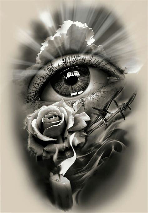 realistic tattoo design design realistic eye with and candle doom