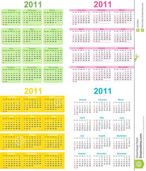 Set Calendar Set Of 2011 Calendar Royalty Free Stock Photography