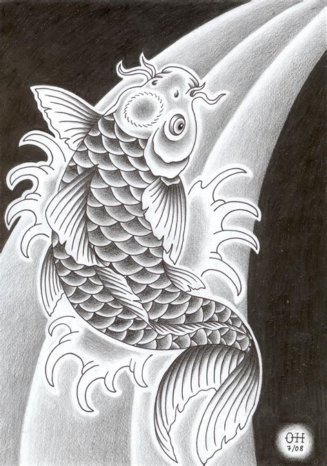 koi fish tattoo designs black and white black and white fish design