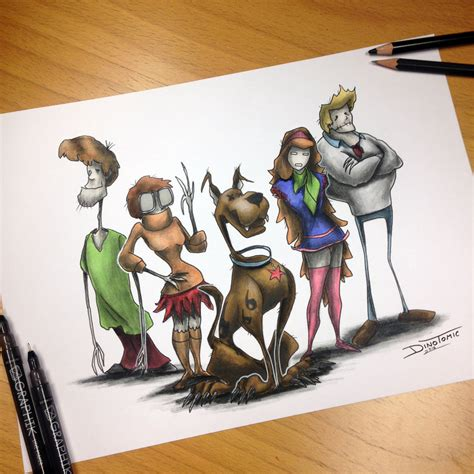 scooby doo gang creepy drawing by atomiccircus on deviantart