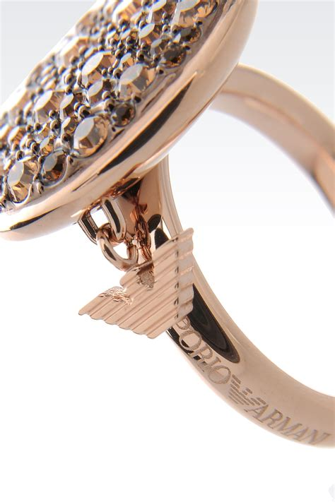 emporio armani ring in gold plated steel and topaz in
