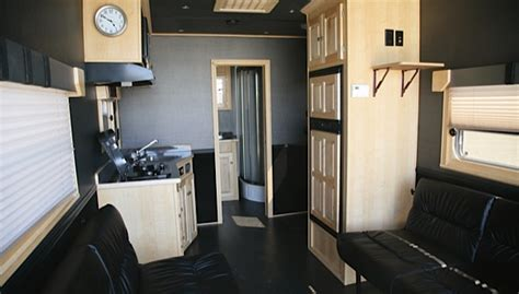 Mobile Home Interior Design Ideas by Car Hauler Living Quarters Featherlite Trailers