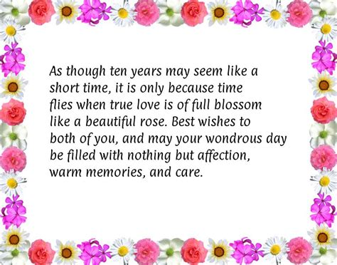 Wedding Anniversary Wishes 10 Years by Happy 10th Anniversary Quotes Quotesgram