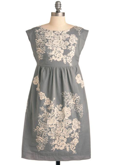 Cap Mid Shift Dress Light Grey grey t escape dress mod retro vintage dresses modcloth