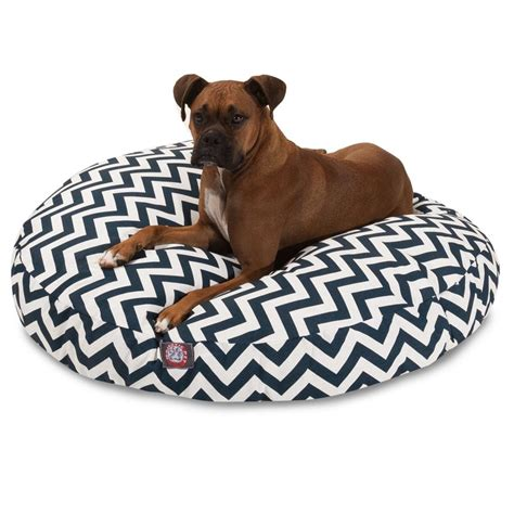 large round dog bed navy blue chevron large round pet bed