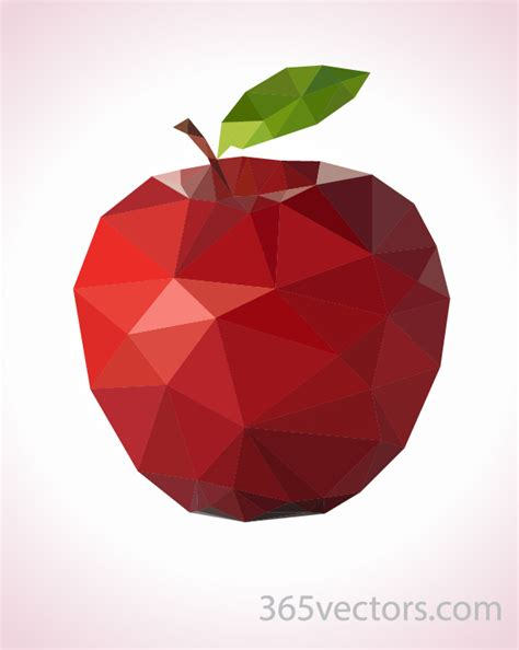 Poly Apple low poly apple 365vectors