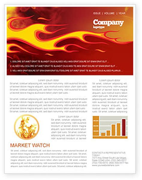 fire flame newsletter template for microsoft word adobe