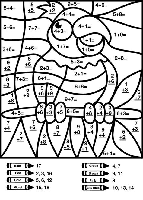 mystery math coloring addition worksheets coloring pages