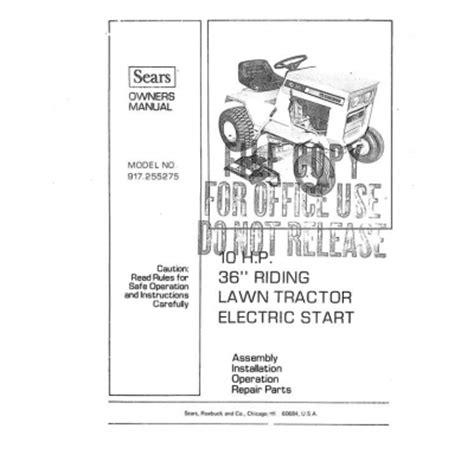 917 255275 10 Hp Instruction Manual Sears Craftsman 4 95