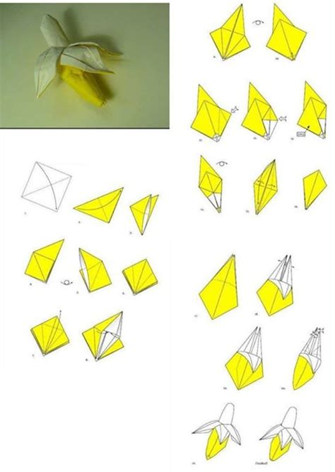 Step By Step Paper Crafts - how to fold origami paper craft banana step by step diy