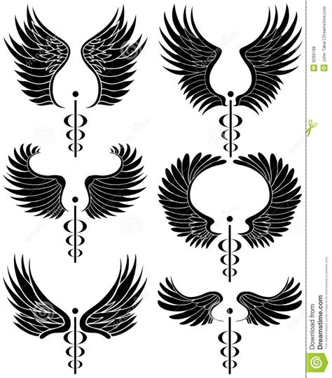 caduceus medical symbol set of 6 black and white stock