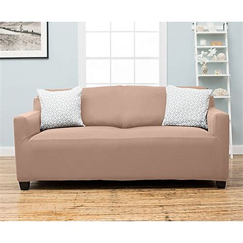 large sofa slipcover stretch stretch fit protective twill sofa slipcover bed bath