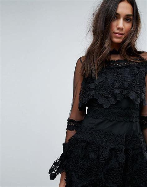 Premium Korea Sleeve Dress lyst prettylittlething premium lace dress with mesh sleeve in black